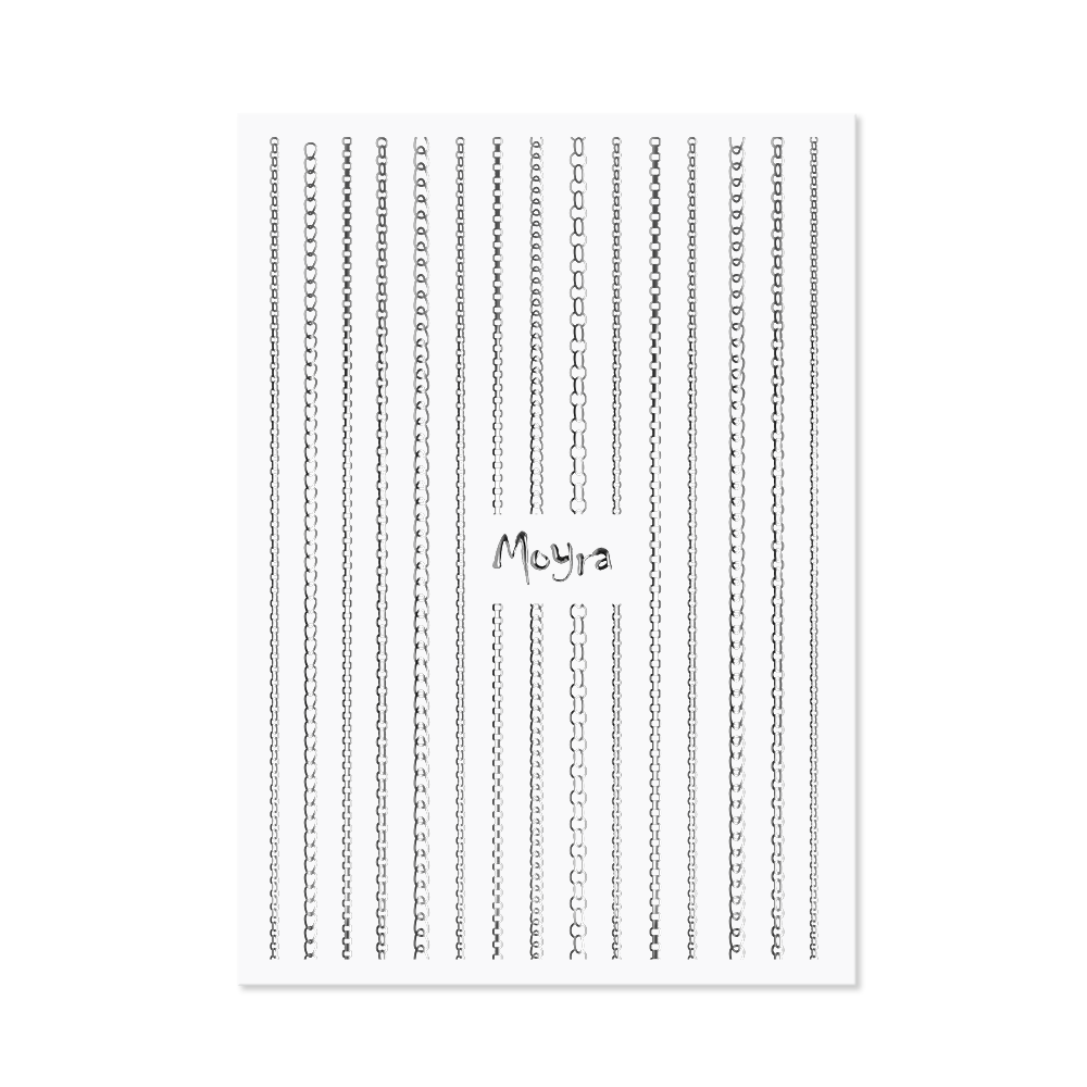 Moyraネイルステッカーストライプチェーン Nail art strips - Chain No. 02 Silver